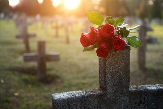 There are plenty of tombstones in the cemetery