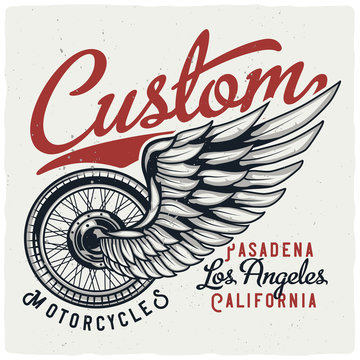 T-shirt or poster design with illustration of motorcycle wheel and wing