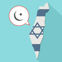 Animation of a long shadow Israel map with its flag and a comic balloon with a islam sign
