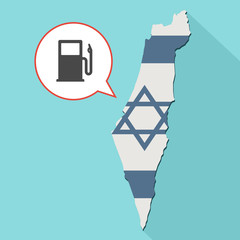 Animation of a long shadow Israel map with its flag and a comic balloon with a gas station pump