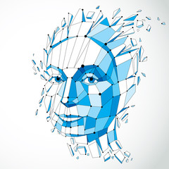 3d vector illustration of human head created in low poly style. Face of pensive female, smart person. Intelligence allegory, artistic deformed wireframe object broken into splinters and fragments.