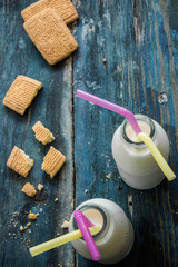 Traditional snack - milk and cookies for two