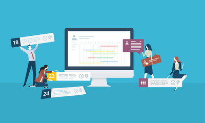 Time management. Flat design business people concept. Vector illustration concept for web banner, business presentation, advertising material.