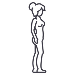 woman body profile,female silhouette vector line icon, sign, illustration on white background, editable strokes