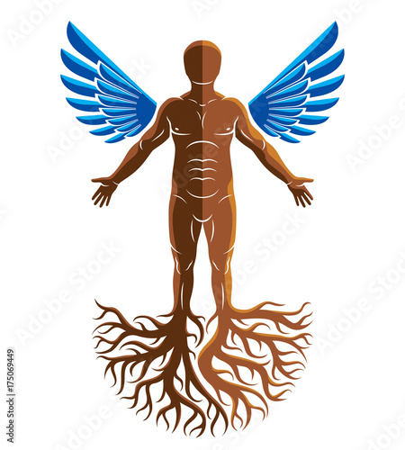 Vector Artistic Graphic Illustration Of Muscular Human Self Strong