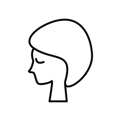 woman face, in spa vector line icon, sign, illustration on white background, editable strokes