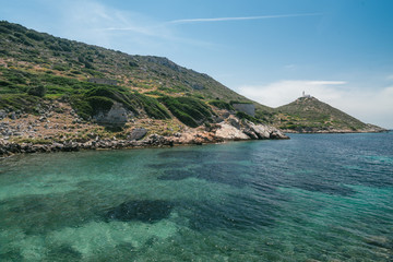 Ancient Ruins in the ancient city of Knidos. Landscape with ancient ruins. The old sea port of Knidos. Turkey
