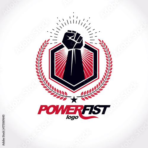 Vector Symbol Created Using Clenched Fist Of Athletic Strong Man