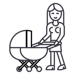 woman with baby stroller vector line icon, sign, illustration on white background, editable strokes