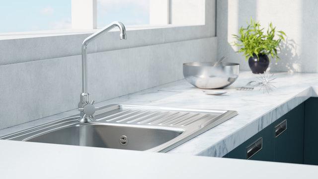 Kitchen sink with herbs 3d rendering