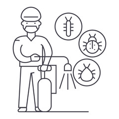 worker,bug destroyer vector line icon, sign, illustration on white background, editable strokes