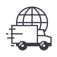 worldwide delivery vector line icon, sign, illustration on white background, editable strokes