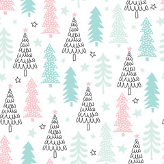 seamless christmas tree pattern vector illustration