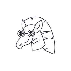 zebra vector line icon, sign, illustration on white background, editable strokes