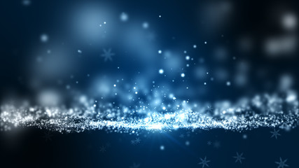 Christmas abstract background, snowflakes with shine light beam.
