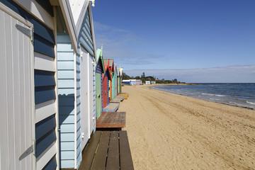 The iconic colorful beach huts on Melbourne's Brighton Beach