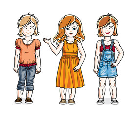 Beautiful little girls cute children standing wearing casual clothes. Vector set of beautiful kids illustrations. Childhood and family lifestyle cartoons.