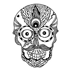 sugar skull day of the dead human head vector design illustration hand drawn