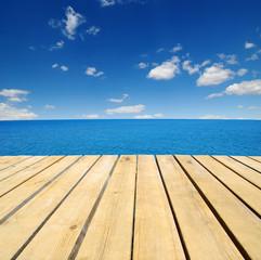 Wood and blue sea