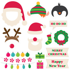 Christmas Santa, elf, deer and penguin photo booth props