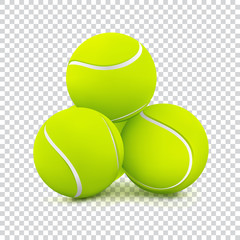Tennis balls on transparent background