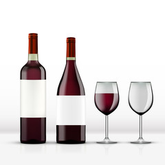 Realistic Open Red Wine Bottle With Wine Glass Isolated On White