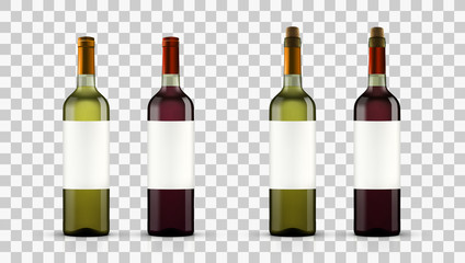 Realistic Open Red And White Wine Bottles