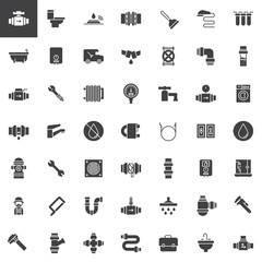 Plumbing vector icons set, modern solid symbol collection, filled pictogram pack. Signs, logo illustration. Set includes icons as valve, toilet, plumber, pipes, bathtub, wrench, washer machine