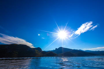 Bright sun above the Skadar Lake. Montenegro. Wall mural
