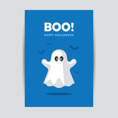 Blue Halloween greeting card with ghost.