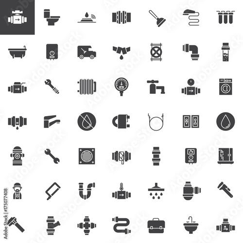 Plumbing Vector Icons Set Modern Solid Symbol Collection Filled