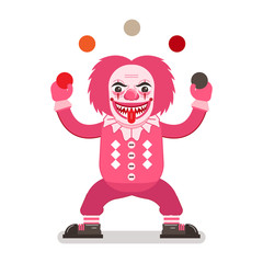 Scary Halloween clown in pink costume, sharp teeth and tongue out juggling balls