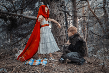 Children play in the Little Red Riding Hood and the wolf