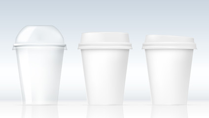 Realistic Clear Plastic Cups Set