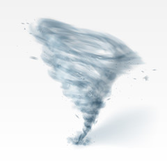 Realistic Tornado Swirl Isolated On White Background