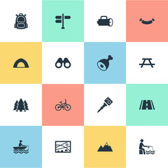 Vector Illustration Set Of Simple Outdoor Icons. Elements Ice Rock, Fishing, Position And Other Synonyms Picnic, Woods And Leisure.