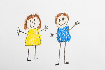 Kid Drawing: Friends