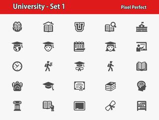 University Icons. Professional, pixel perfect icons optimized for both large and small resolutions. EPS 8 format.