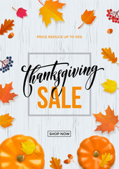 Thanksgiving sale web banner or Big seasonal promo offer discount poster for autumnal shopping background template. Vector pumpkin harvest maple, oak leaf or rowan berry for Thanksgiving sale design