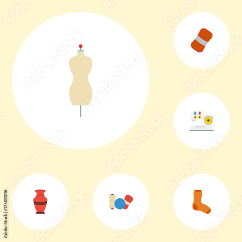 Flat Icons Knitted Socks Shop Pottery And Other Vector Elements