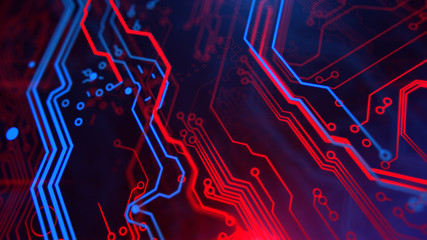 Technology Terminal Background. Digital red blue backdrop. Printed circuit board. Technology wallpaper. 3D illustration. Circuit board futuristic server code processing.