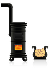 Potbelly stove - antique cast iron stove with flames at the viewing window, plus vessel for firewood. Isolated vector illustration on white background.
