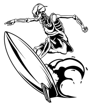 Monochrome illustration of skeleton on surfing board isolated on white background