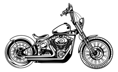 Monochrome illustration of classic motorcycle isolated on white background