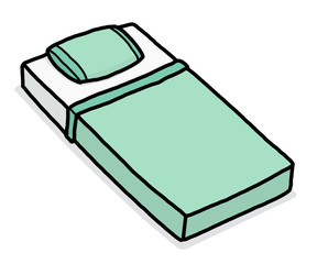 mini bed / cartoon vector and illustration, hand drawn style, isolated on white background.
