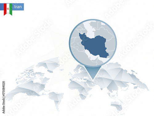Abstract rounded World Map with pinned detailed Iran map ...