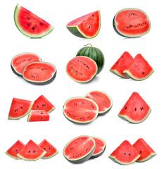set of slice fresh watermelon isolated on white background