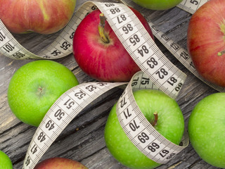 Diet concept with healthy apples