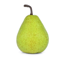 whole of green packham pear isolated on white background