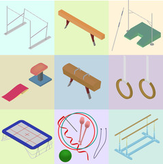 Set of isometric tools for artistic gymnastics. Set of sporting
